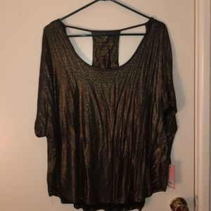 Gold sparkly short sleeve top